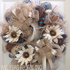 Everyday Wreath, Mesh Wreath, Burlap, Turquoise on Etsy, $105.00