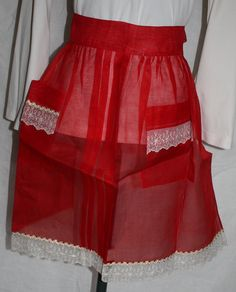 Vintage Hostess Half Apron Sheer Christmas by ilovevintagestuff