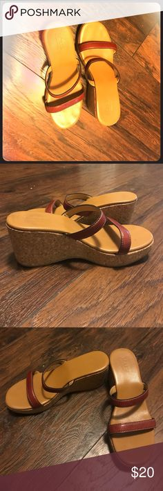 J Crew Wedges J Crew cork Wedges with red leather straps J. Crew Shoes Wedges