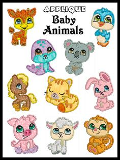 Set of 10  BABY ANIMALS  Machine Applique by embroiderquilt, $9.00