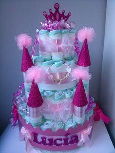 Make 40 ideas for diaper gifts yourself - Make 40 ideas for diaper gifts yourself, - Baby Shower Baskets, Baby Shower Items, Baby Shower Diapers, Baby Shower Parties, Baby Boy Shower, Baby Shower Gifts, Baby Gifts, Diaper Castle, Princess Diaper Cakes