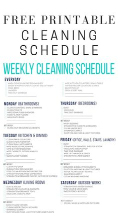 Get organized and get a spotless house with the help of this FREE printable cleaning schedule. Household Cleaning Schedule, Cleaning Schedule Printable, Weekly Cleaning, Cleaning Dust, Cleaning Checklist, Deep Cleaning, Spring Cleaning, Cleaning Hacks, Free Printable Stickers