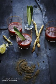 the food dept.: TOMATOES - Make mine a bloody Mary... and double the dirty. Sunday is the perfect day for you to try the food dept's dirty bloody Mary with green olive grissini, it's one of many ways to use your tomatoes.