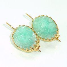 Mint Oval Druzy Earrings, Druzy Drop Earrings, Seafoam Mint Earrings, Druzy  Agate Bezel Sets, Gold Dangle Gemstones Earrings, Crown Lace.