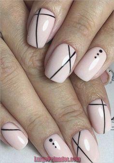 Nail Art Designs 💅 - Cute nails, Nail art designs and Pretty nails. Line Nail Designs, Simple Nail Art Designs, Best Nail Art Designs, Light Pink Nail Designs, Simple Art, Short Nail Designs, Simple Lines, Stripe Nail Designs, Easy Diy Nail Art