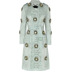 Burberry Prorsum Embellished cotton-blend lace trench coat (€3.990) ❤ liked on Polyvore featuring outerwear, coats, jackets, coats & jackets, trench coat, green, lace coat, burberry, double breasted coat and burberry coat