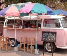 This is by far the cutest food truck I've seen so far. I would love to trick out a VW bus into a food truck. Food Trucks, Kombi Food Truck, Ice Truck, Food Truck Festival, Van Vw, Camper Van, Camper Life, Camper Store, Volkswagen Bus