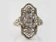 $699.00   14K White Gold Estate Ring $699.00, I-11604  #white gold estate ring #estate #fashion rings #designer rings #westchestergold