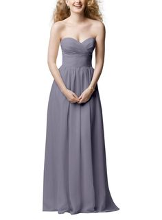 DescriptionWtoo by WattersStyle 601Full length bridesmaid dressStrapless, sweetheart necklineA-line, shirred skirtChiffon