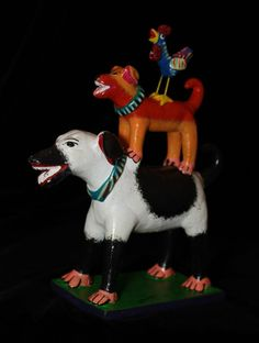 Colorful Tower of Dogs & Rooster! Fun Children's Room! Mexican folk art Ortega