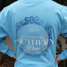 Southern Class Long Sleeve Tee in Breaker Blue by Southern Marsh Southern Pride, Southern Marsh, Southern Gentleman, Simply Southern, Southern Style, Mens Tee Shirts, T Shirts For Women, Preppy Outfits, Preppy Clothes