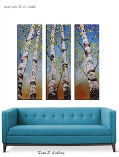 Triptych of Original Modern Textured Large Painting, Aspen Multi Panel, Birch Tree Painting, Palette Knife, Three Panel Artwork for your Living Room Decor. New and in excellent condition. Directly from my studio. COMMISSION PAINTING - MADE TO ORDER: This piece is made to order and will look SIMILAR to the pictures above, since each painting is done by hand it will not look exactly the same. Each painting I create is one of a kind. The pictures of a finished artwork will be send before…