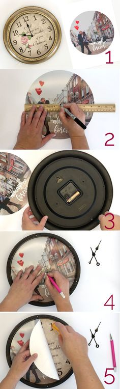 How to make a personalized photo clock. Great DIY gift idea for Mother's Day, Father's Day, weddings, anniversary, and more! gift with pictures how to make a DIY personalized photo clock - It's Always Autumn Diy Gifts For Boyfriend, Birthday Gifts For Boyfriend, Gifts For Mom, Diy Gifts To Make For Friends, Mothers Day Diy Gifts, Dad Gifts, Photo Clock, Picture Clock, Birthday Gift For Him