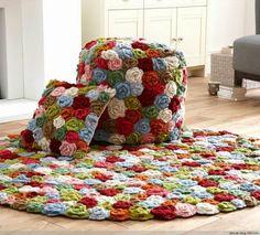 Conjunto tapete crochê
