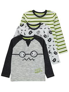 3 Pack Assorted Long Sleeve Tops | Kids | George at ASDA