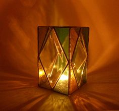 7 Diamond Beveled stained glass candle holder by WendaLynneDesigns, $44.95