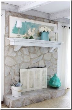 how to whitewash stone fireplace - Google Search