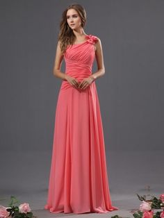 Elegant Design Gathered Bodice Chiffon Coral Bridesmaid Dresses One Shoulder Long for Wedding Guest Party Gowns MG156, $111.54 | DHgate.com