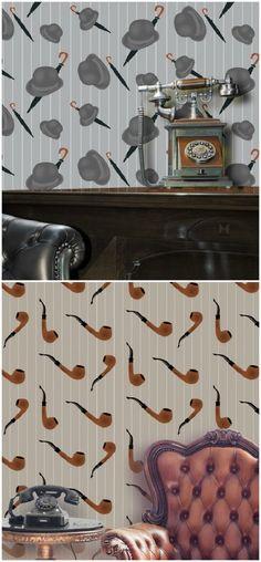 Bowler & Pipe wallpaper by ATADesigns