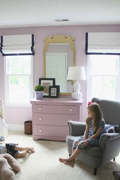 lavender, light purple girls bedroom, roman shades, gold mirror (paint: Mauve Finery by Sherwin-Williams)