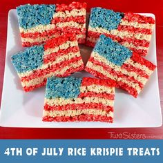 Our 4th of July Rice Krispie Treats are a fun, delicious and easy to make treat for your 4th of July party or Memorial Day BBQ!