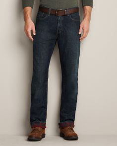 Relaxed Fit Flannel-Lined Jeans | Eddie Bauer $69.95  Even rugged adventure men need some stylish jeans to chop wood in. Flannel-lined sounds dorky, but he won't ever want to take them off.