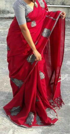 MM : Khesh Cotton Applique Work Saree @Rs. 1450 | Koyal Fashions South Indian Sarees Cotton Saree Blouse Designs, Saree Blouse Patterns, Fancy Blouse Designs, Choli Designs, Cutwork Saree, Kalamkari Saree, Bengal Cotton Sarees, Silk Cotton Sarees, Chiffon Saree