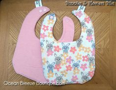 Bunnies and Flowers  Baby Bib by oceanbreezeboutique on Etsy, $5.00