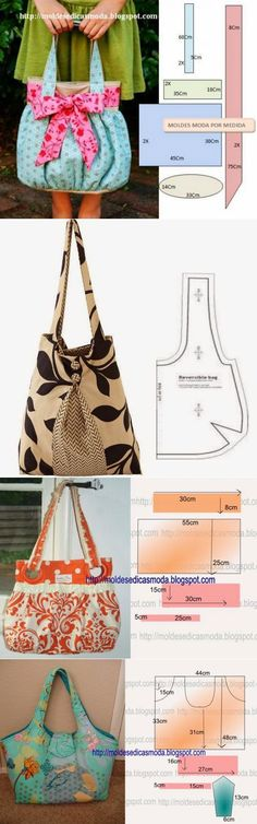 Bags + pattern part) Handbag Patterns, Bag Patterns To Sew, Sewing Patterns, Sacs Tote Bags, Women's Bags, Diy Sac, Diy Handbag, Craft Bags, Fabric Bags