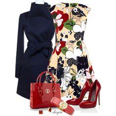 """Floral Print Dress"" by elayne-forgie on Polyvore"