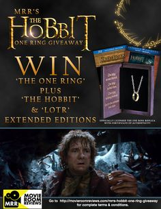 """Movie Room Reviews is giving away an officially licensed """"One Ring"""" replica with #TheHobbit and #LordoftheRings Extended Edition Blurays! Enter today! #Giveaway #PinittoWinit http://movieroomreviews.com/mrrs-hobbit-one-ring-giveaway"""