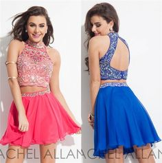 Vintage Dresses Short Two Pieces Prom Dresses High Neck Keyhole Back A Line Homecoming Dress Crystal Beading 2015 Rachel Allan Cocktail Party Formal Wear Homecoming Dress On Sale From Marrysa, $98.96| Dhgate.Com