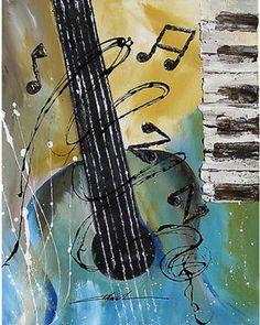 Short hair Orginal art absrtact painting JAZZ guitar piano music notes -by Khanh Ha Music Painting, Guitar Painting, Guitar Art, Jazz Guitar, Painting Art, Music Pictures, Pictures To Paint, Music Images, Jazz Art
