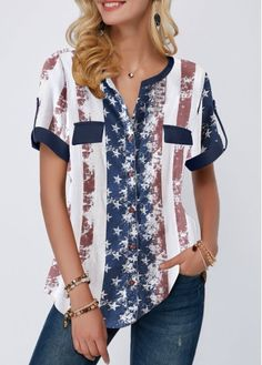 Of July Rosewe Women Blouse American Flag Patriotic Tunic Striped Curved Hem Roll Tab Sleeve Star Print Blouse Trendy Tops For Women, Blouses For Women, Women's Blouses, Star Clothing, Patriotic Shirts, Swim Dress, Star Print, Printed Blouse, Short Sleeve Blouse