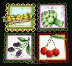Refrigerator magnets with Copic markers and Lockhart stamps!