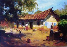 Watercolor Landscape Paintings, Seascape Paintings, Landscape Art, Watercolor Paintings, Mary Cassatt, Village Drawing, Composition Painting, Gauguin, Pierre Bonnard