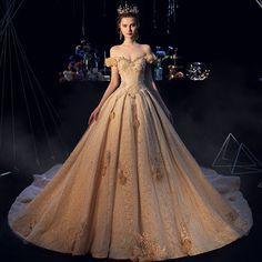 Luxury / Gorgeous Champagne Wedding Dresses 2019 A-Line / Princess Off-The-Shoulder Lace Flower Appliques Crystal Pearl Rhinestone Sequins Short Sleeve Backless Cathedral Train Corset Back Wedding Dress, Western Wedding Dresses, Luxury Wedding Dress, Sexy Wedding Dresses, Bridal Dresses, Prom Dresses, Beautiful Gowns, Pretty Dresses, Ideias Fashion