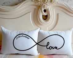 Infinite LOVE Pillow cover,Personalized Bedding Pillowcase,Custom Couple cushion case,His and her pillow,Unique Anniversary Gift for her