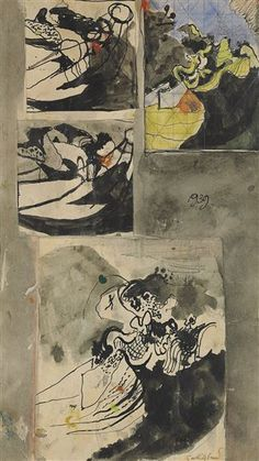 Artwork by Graham Sutherland, Studies for Landscape, Made of gouache, ink, pencil and collage on paper, lightly squared for transfer Gouache, Graham, Pencil, Collage, Study, Ink, Landscape, Paper, Artwork