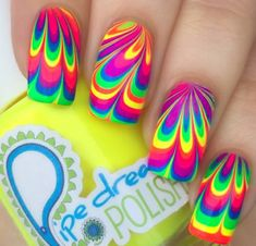 Nail art Christmas - the festive spirit on the nails. Over 70 creative ideas and tutorials - My Nails Rainbow Nails, Neon Nails, Cute Acrylic Nails, Pink Nails, Hippie Nail Art, Hippie Nails, Nail Art Designs 2016, Cute Nail Art Designs, Rainbow Nail Art Designs