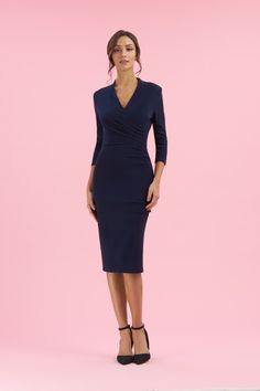 099d8b57fd37 Tegan Wrap Top Pencil Dress Pretty Dresses, Dresses For Work, The Pretty  Dress Company