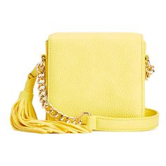 Imoshion Yellow Mini Box Chain Crossbody (380 MXN) ❤ liked on Polyvore featuring bags, handbags, shoulder bags, yellow, leather purses, leather crossbody purses, yellow leather handbags, leather crossbody and faux leather crossbody