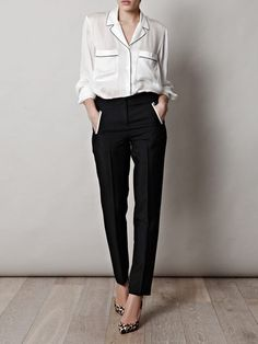nice office look: silk pajama top instead of the blouse