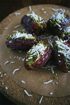 PISTACHIO-STUFFED DATES WITH COCONUT by Simple Provisions #Beauticate #healthyfood #health #healthtips #foodtips #food #dinner #dinnerideas