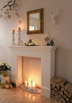 32 Rustic Christmas Fireplace Mantel Decor To Inspire - handcra. 32 Rustic Christmas Fireplace Mantel Decor To Inspire - handcraft Always wanted to learn how to knit, y. Fireplace Console, Candles In Fireplace, Diy Fireplace, Living Room With Fireplace, Fireplace Surrounds, Fireplace Design, Cardboard Fireplace, Farmhouse Fireplace, Decorative Fireplace