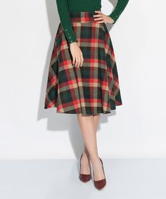 Look at this Green Plaid A-Line Skirt on #zulily today!