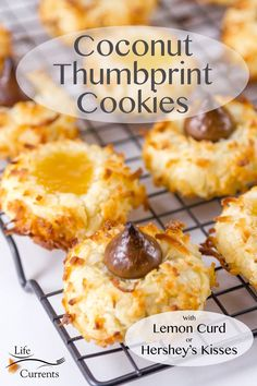 These Coconut Thumbprint Cookies with lemon curd or Hershey's Kisses are the perfect buttery lightly sweet cookies, and since you can customize them with tangy lemon curd or chocolaty kisses, you can make them your own. Or, do like I did and make some of each! Delicious Cookie Recipes, Baking Recipes, Dessert Recipes, Bar Recipes, Easy Desserts, Sweet Cookies, Yummy Cookies, Cake Cookies, Sweet Treats