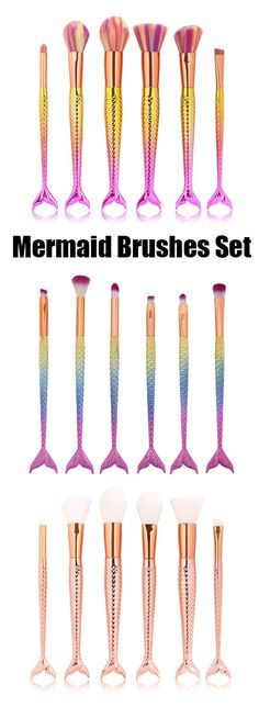 6 Pcs Mermaid Shape Multifunction Makeup Brush Set