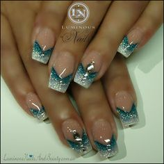 Glitter Sky Blue & White Nails with Bling...