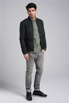 Bomber Jacket and Grey Wash Stretch Jeans
